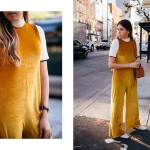ZARA yellow mustard wide leg velvet jumpsuit